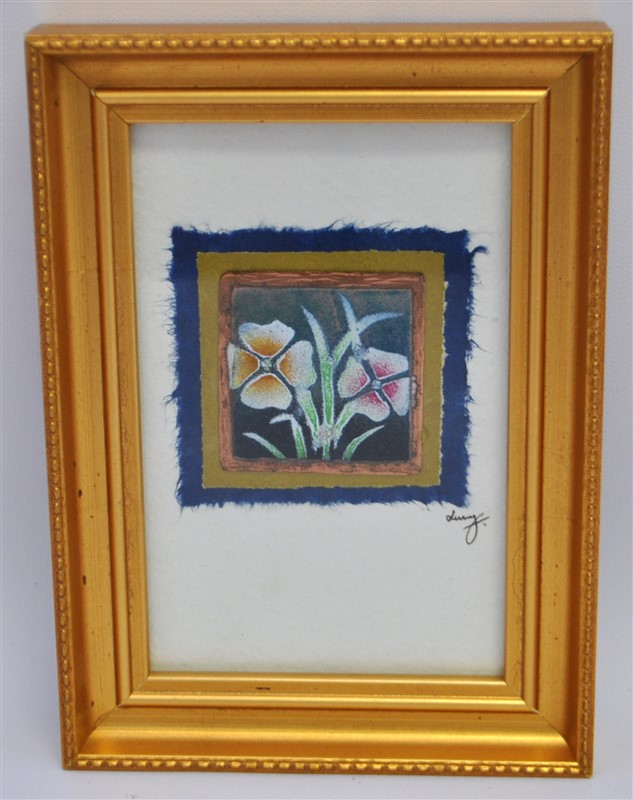 FRAMED ENAMEL ON COPPER - PANSIES
