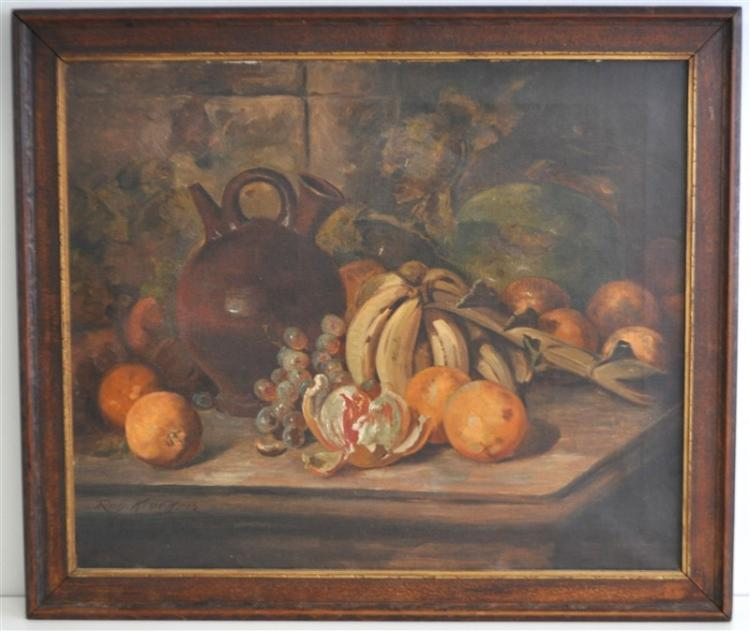 OIL ON CANVAS STILL LIFE FRUIT KRUEGER