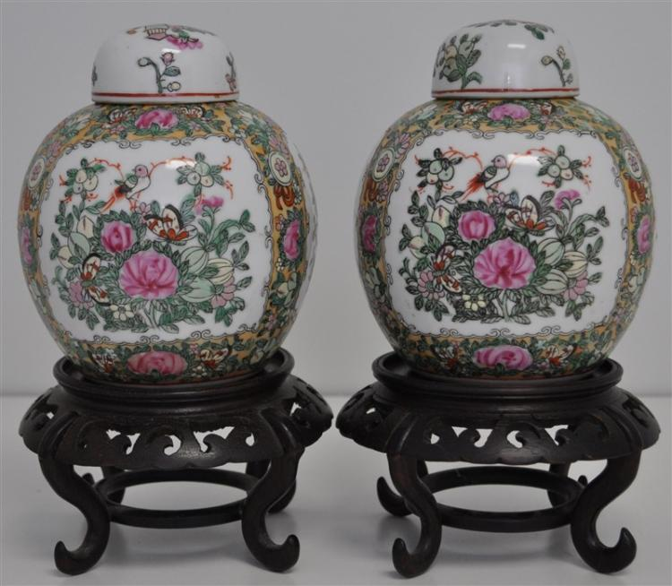 PAIR ROSE MEDALLION GINGER JARS ON STANDS