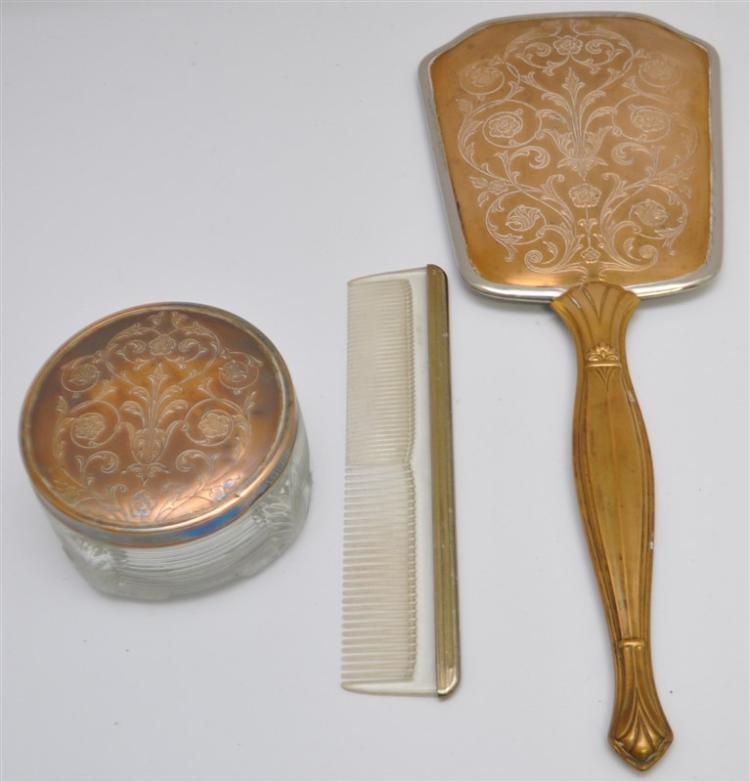 3 PC ART DECO VANITY SET