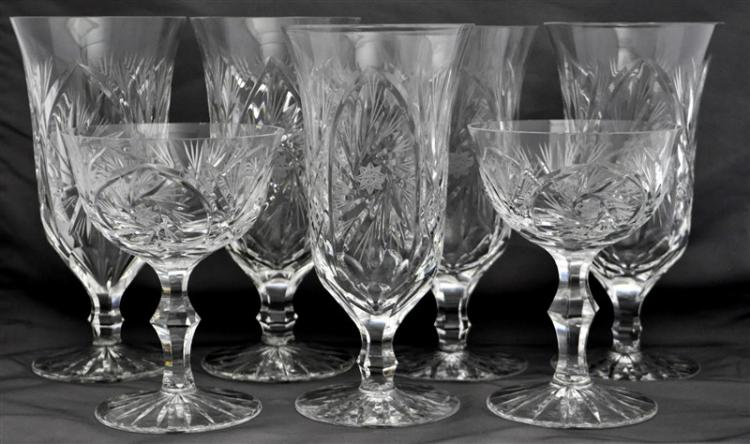 7 CUT CRYSTAL PINWHEEL HOBSTAR FAN VASES, GOBLETS +