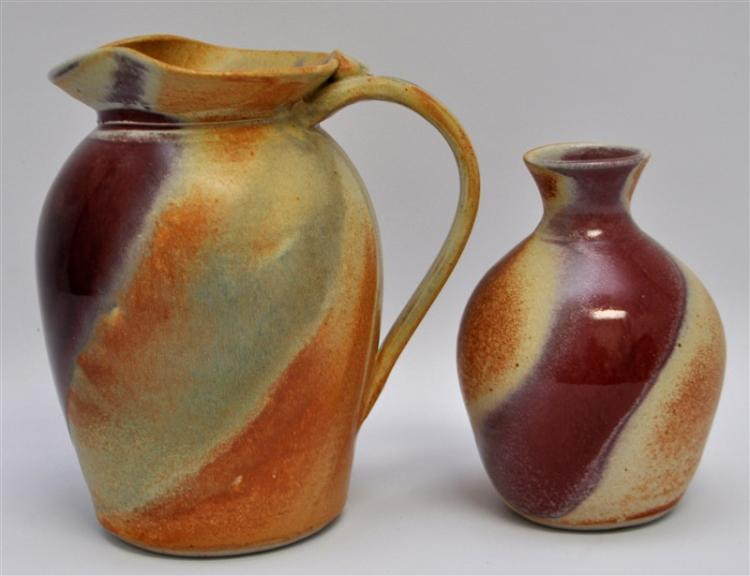 2 PC GOOD EARTH STUDIO POTTERY MAINE