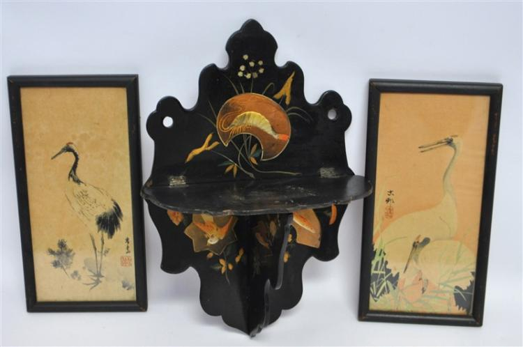 3 pc VICTORIAN LACQUER FOLDING SHELF & 2 CRANE WATERCOLORS