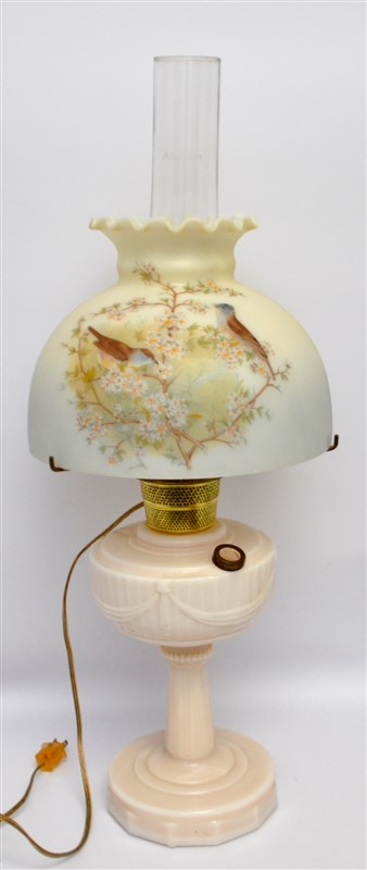 ELECTRIFIED TALL  ALADDIN DRAPE LAMP W BIRD SHADE