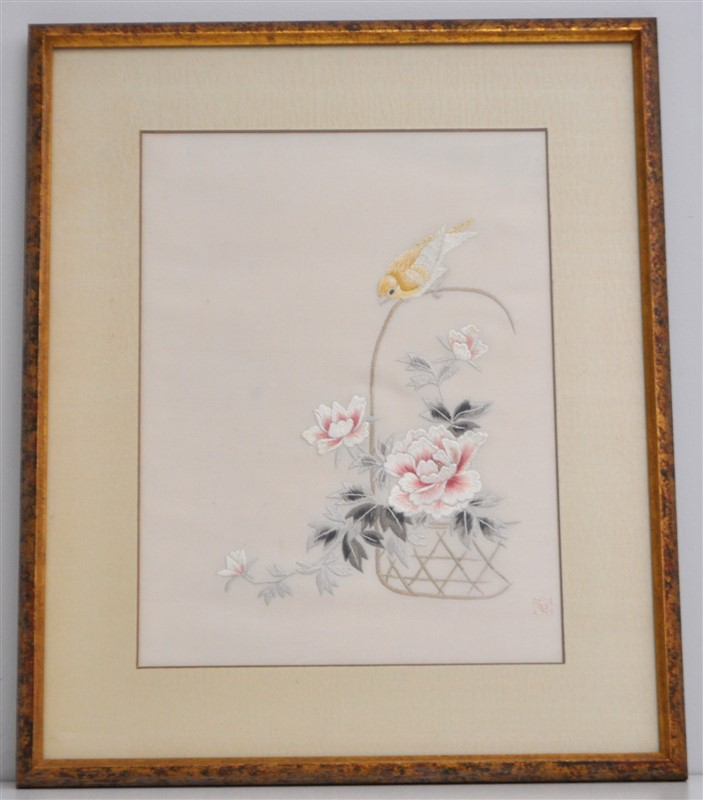 EXCEPTIONAL CHINESE SUZHOU EMBROIDERY BIRD