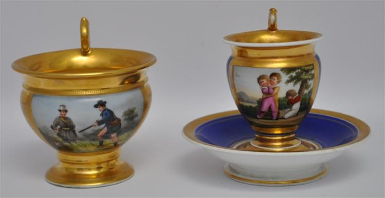 2 HAND PAINTED & GILT OLD PARIS PORCELAIN CUPS