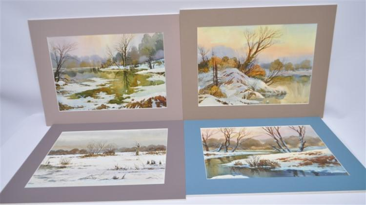4 ORIGINAL WINTER LANDSCAPE WATERCOLORS