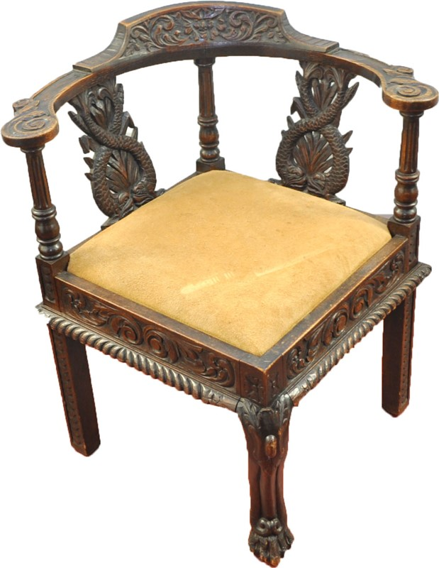 ANTIQUE ENGLISH GEORGE III JACOBEAN REVIVAL CORNER CHAIR.