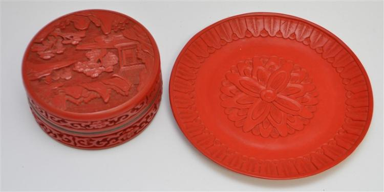 2 Pc. CHINESE CARVED CINNEBAR BOX & PLATE