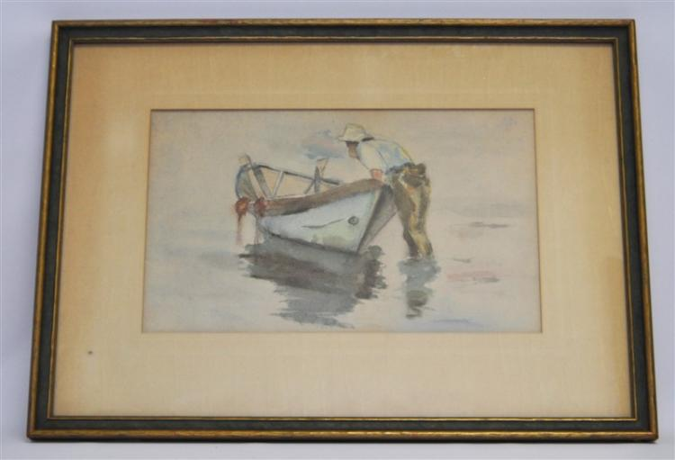 VINTAGE ORIGINAL WATERCOLOR ROWBOAT
