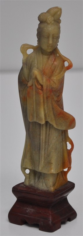 CHINESE CARVED SOAPSTONE FIGURE OF KWAN YIN