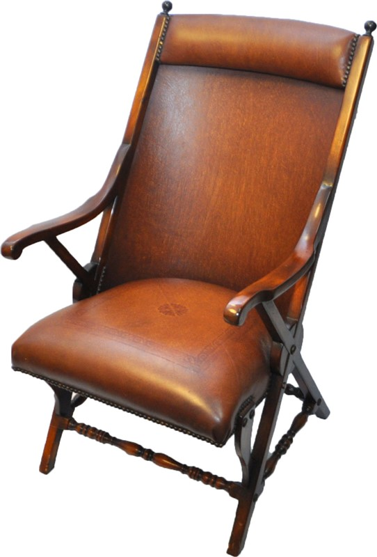 MAHOGANY LEATHER CAMPAIGN CHAIR