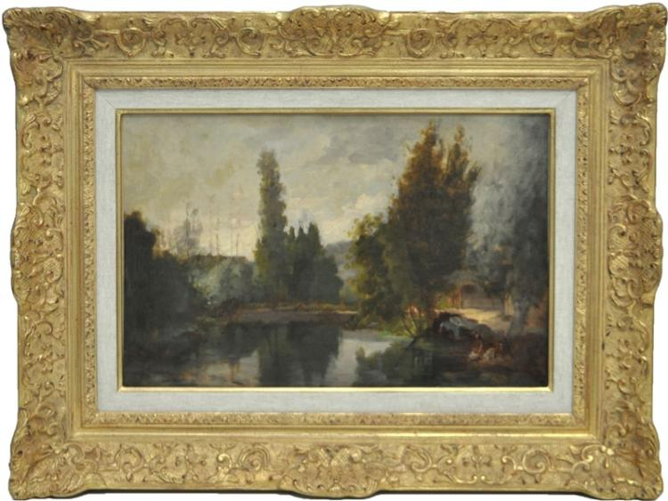 19th C. FRENCH SCHOOL OIL ON CANVAS LES LAVANDIERES