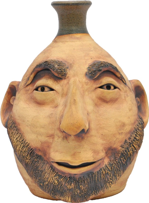 GEORGIA POTTERY FACE JUG BEARDED MAN  SIGNED HY