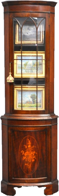 ANTIQUE ENGLISH INLAID MAHOGANY CORNER CABINET