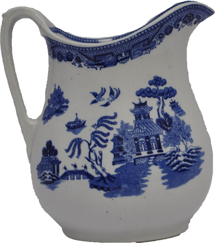 LARGE ANTIQUE STAFFORDSHIRE BLUE WILLOW PITCHER L. STRAUS