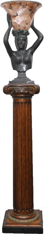 MONUMENTAL MAITLAND SMITH BRONZE AMPHITRITE TORCH LAMP