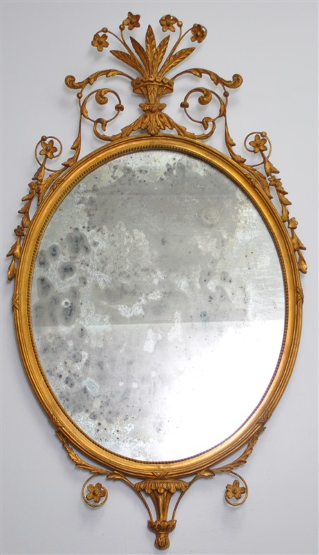 ADAMS CARVED GILT WOOD OLD MERCURY MIRROR CARVERS GUILD