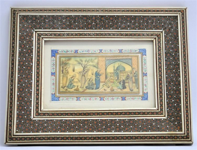 PERSIAN PAINTING WITH MICROMOSIAC MARQUETRY FRAME
