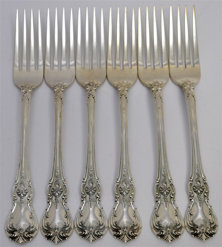 6 STERLING TOWLE OLD MASTER DINNER FORKS