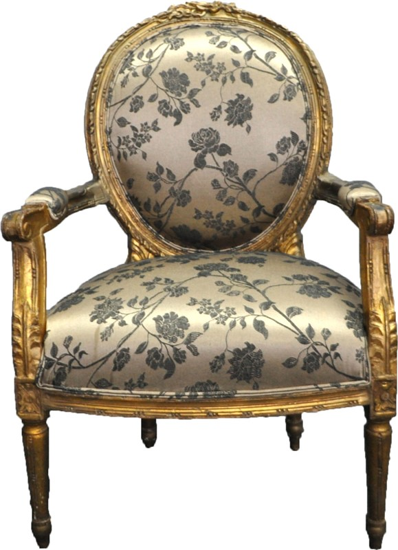 ANTIQUE FRENCH PARCEL GILT FAUTEUIL CHAIR