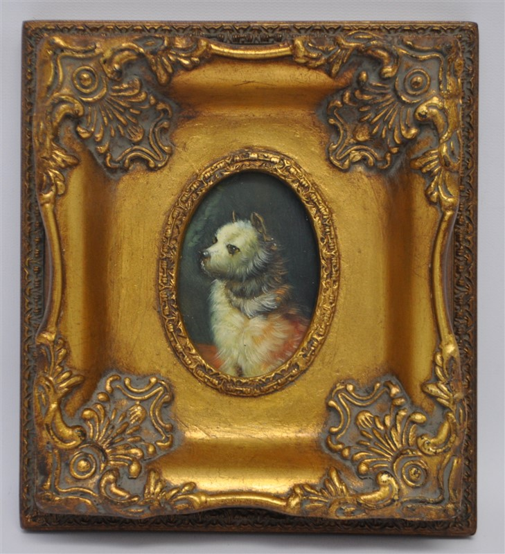 OIL ON PANEL DOG IN ORNATE FRAME