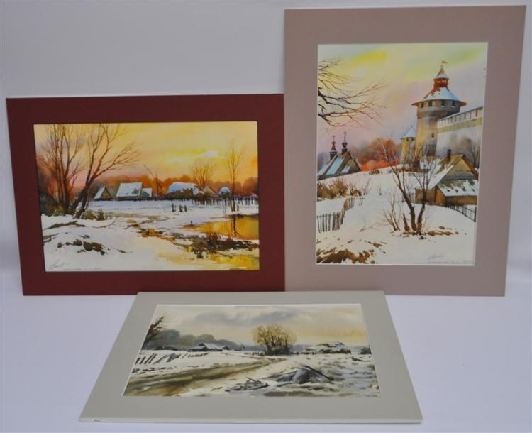 3 ORIGINAL WATERCOLORS RUSSIAN WINTER LANDSCAPES