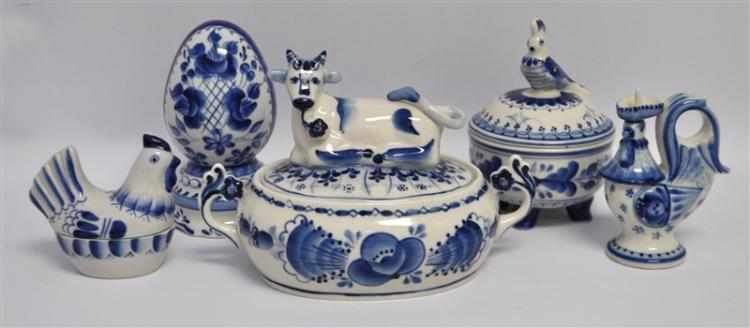 5 RUSSIAN GZHEL PORCELAIN - EGG - HEN - COCKATOO Cow