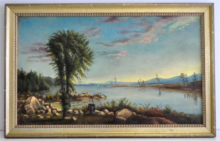 19th c. OIL ON CANVAS HUDSON RIVER SCHOOL