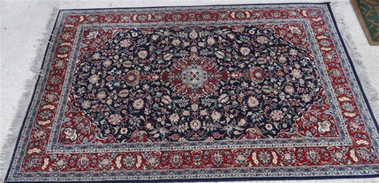 HAND KNOTTED SERAPI RUG NAVY RED 6X4