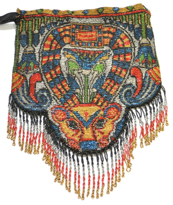 EGYPTIAN REVIVAL MICRO BEADED PURSE