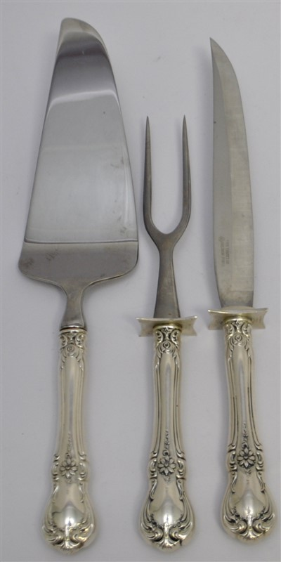 3 PC STERLING TOWLE OLD MASTER CARVING SET + CAKE