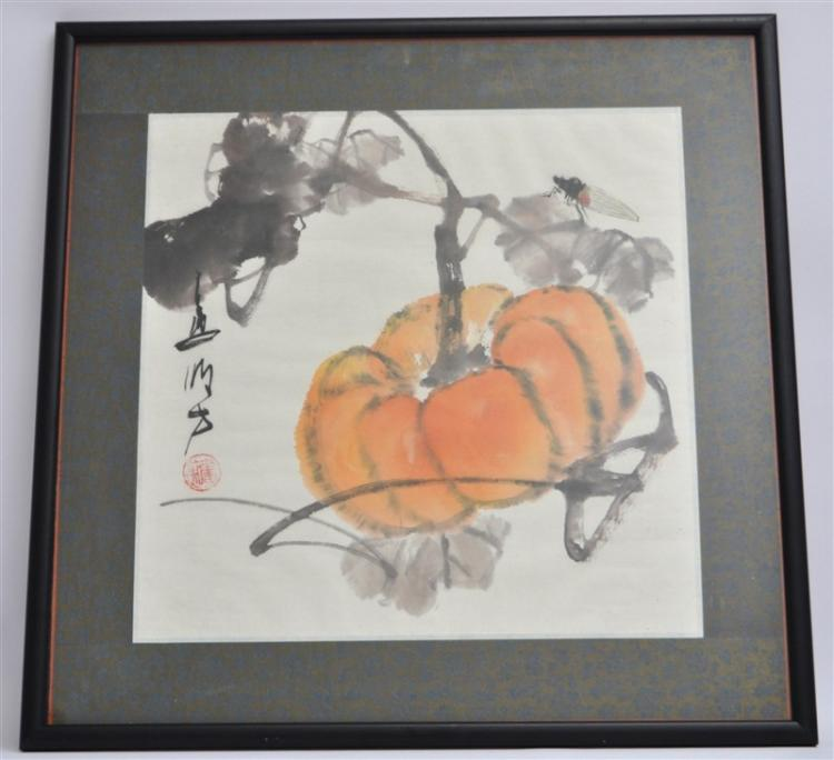 WANG MING FANG PUMPKIN ON A VINE W DRAGONFLY