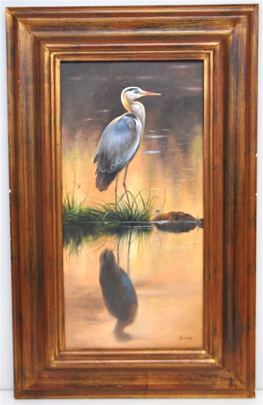 FRAMED S.CARR BLUE HERON OIL PAINTING