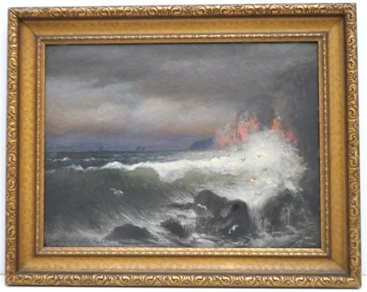EDWIN FORSYTH PORTER (19TH/20TH c) OIL ON PANEL ROUGH SEAS