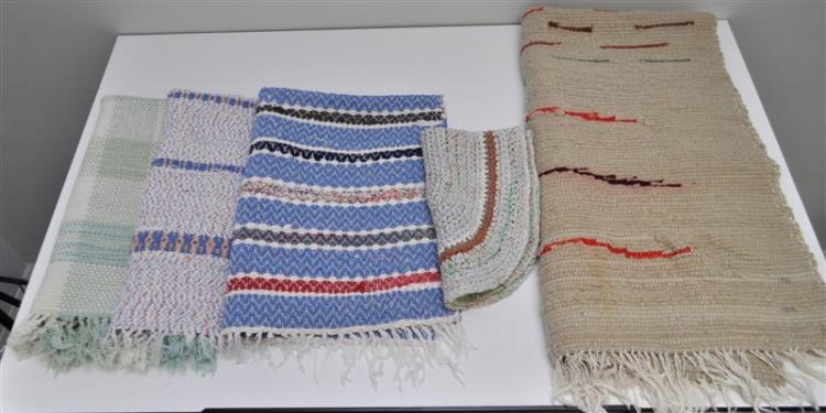 5 AMERICAN 19th c RAG RUGS