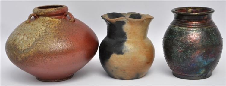 3 PC STUDIO POTTERY RAKU - PIT FIRED