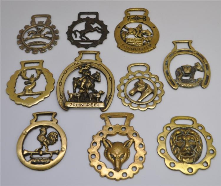 10 pc ANTIQUE & VINTAGE ENGLISH HORSE BRASSES
