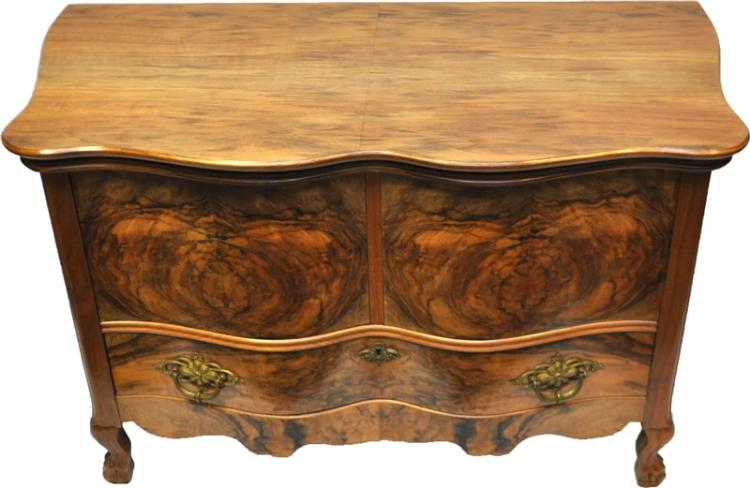 CARROLLTON BURL WALNUT SERPENTINE FRONT BLANKET CHEST