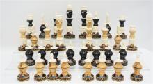 CARVED VINTAGE WOOD & BONE CHESS PIECES