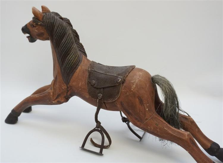 Wood Horse With Horse Hair Tail