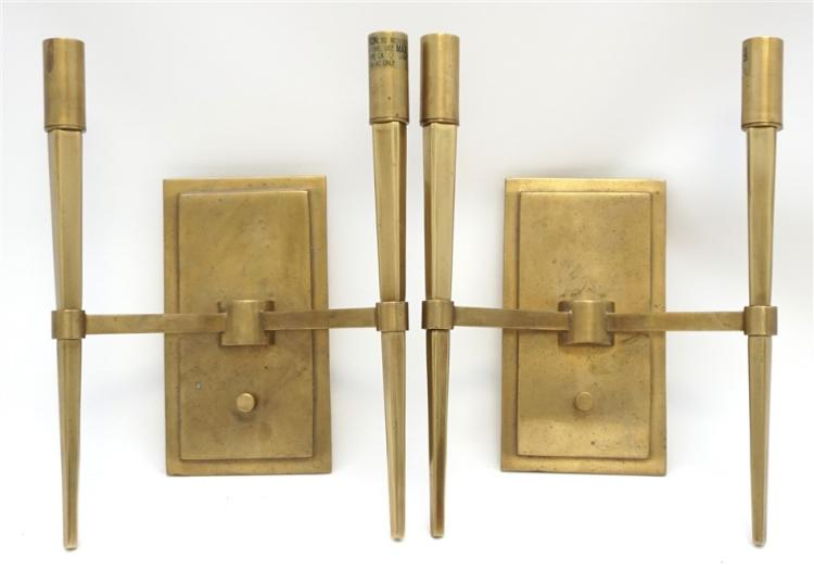2pc Contemporary Brass Double Wall Sconce