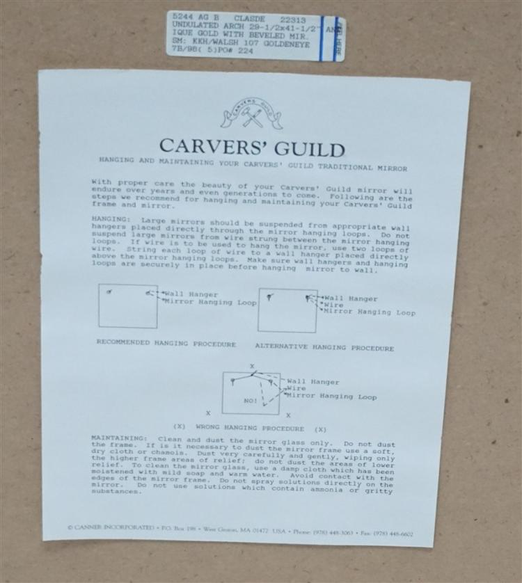 Carvers Guild Undulated Arch Mirror