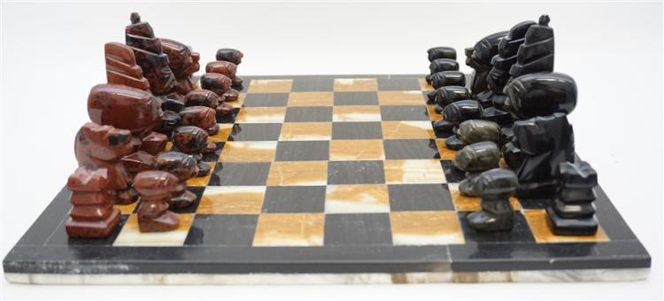 Carved african stone chess set