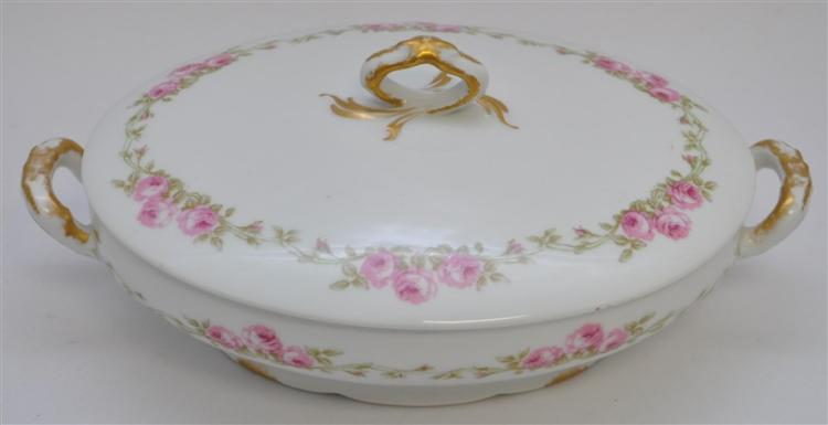 LIMOGES PINK ROSE & RIBBON COVERED VEGETABLE