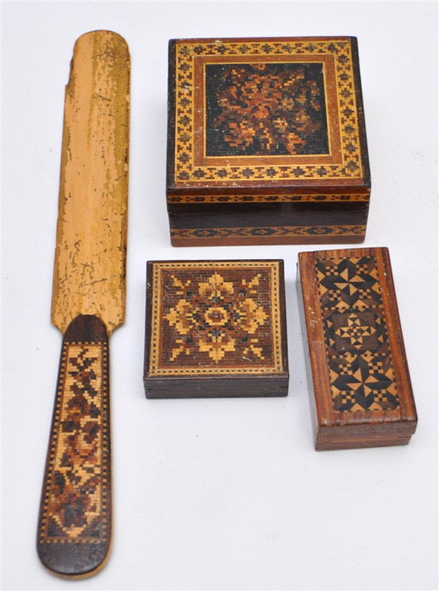 4 PC 19th c. TUNBRIDGE WARE BOXES / PAGE TURNER