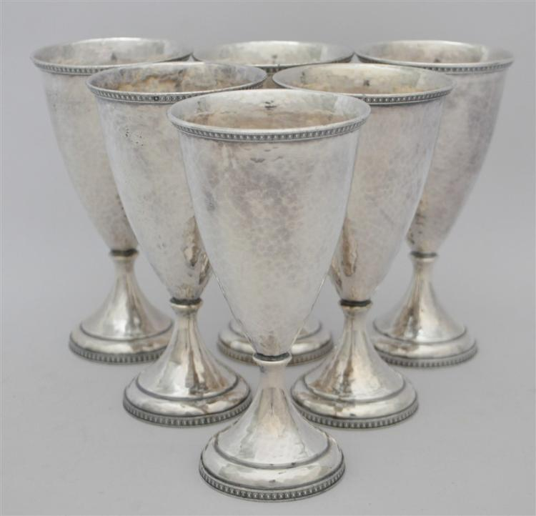 6 AMERICAN ARTS & CRAFTS HAND BEATEN GOBLETS