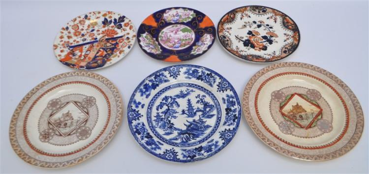 6 pc 19th c. ENGLISH PLATES BROWNFIELD -ADAMS
