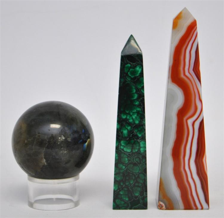 3 PC MALACHITE & JASPER OBELISKS + FLOURITE