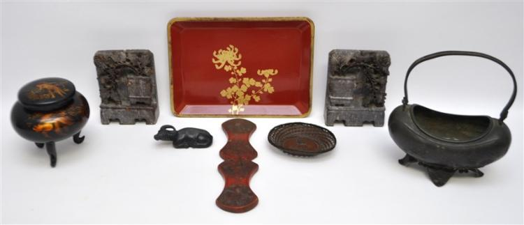 7 pc. ASIAN SOAPSTONE - LACQUER - BRONZE